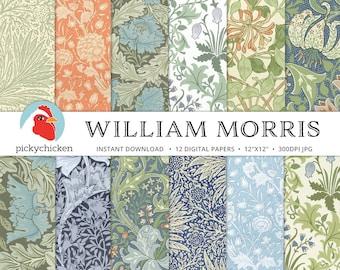 Victorian Digital Papers, William Morris, Arts and Crafts Movement, Art Nouveau, Floral Digital Paper Collection 8111