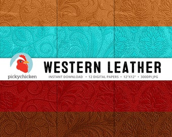 Leather Digital Paper - western retro country turquoise red tan vintage embossed photography backdrop Instant Download 8095