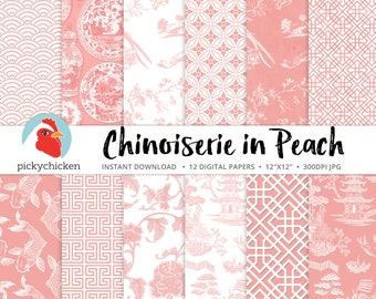 Chinoiserie Digital Paper, Chinese patterns, peach & white paper, blush, Wedding, Spring, Oriental, French, China photography backdrop 8112