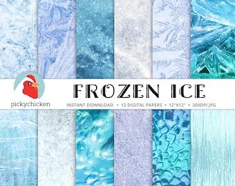 Frozen Digital Paper - Ice digital paper, winter,  ice background, digital photography backdrop, Instant Download 8105