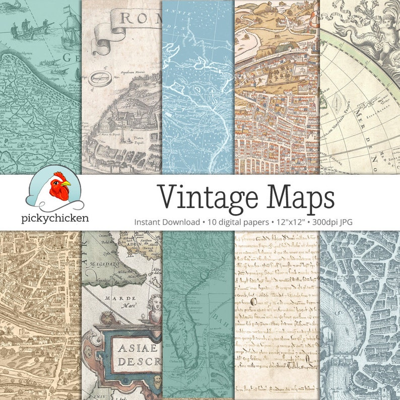 Vintage Maps Digital Papers 2  10 pages of scrapbooking image 0
