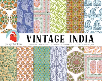Indian Digital Paper - vintage botanical patterns, paisley, ethnic, mandala, leaf, vines, woodblock print photography backdrop 8102
