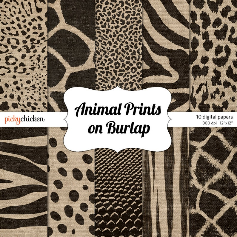 Animal Print Burlap Digital Paper  African ethnic primitive image 0