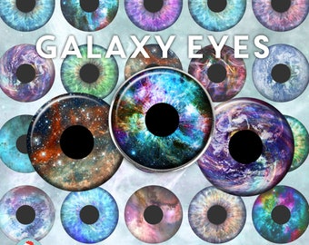 Eyes Digital Collage Sheet - Galaxy Eyes - Space Stars Rainbow Astronomy clip art - circles 1 inch 25mm 1.5 inch 38mm Instant Download 2137