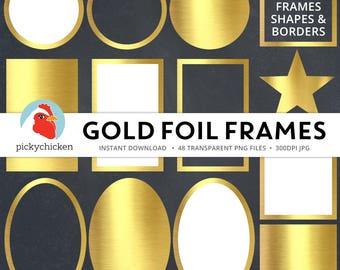 Gold Digital Frames - faux gold foil frames, gold digital labels, gold clip, gold borders, geometric borders clipart Instant Download 5039