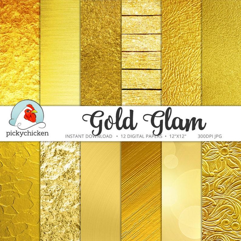 Gold Digital Paper  Gold Foil Paper Gold Glitter Gold Bokeh image 0