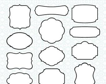 36 Classic Frames - black white digital printable labels  clip art tags borders wedding invitation clipartInstant Download 5003