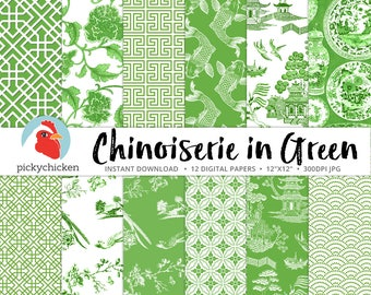Chinoiserie Digital Paper, Chinese patterns, green & white paper, Christmas, Spring, Oriental, French, China photography backdrop 8108