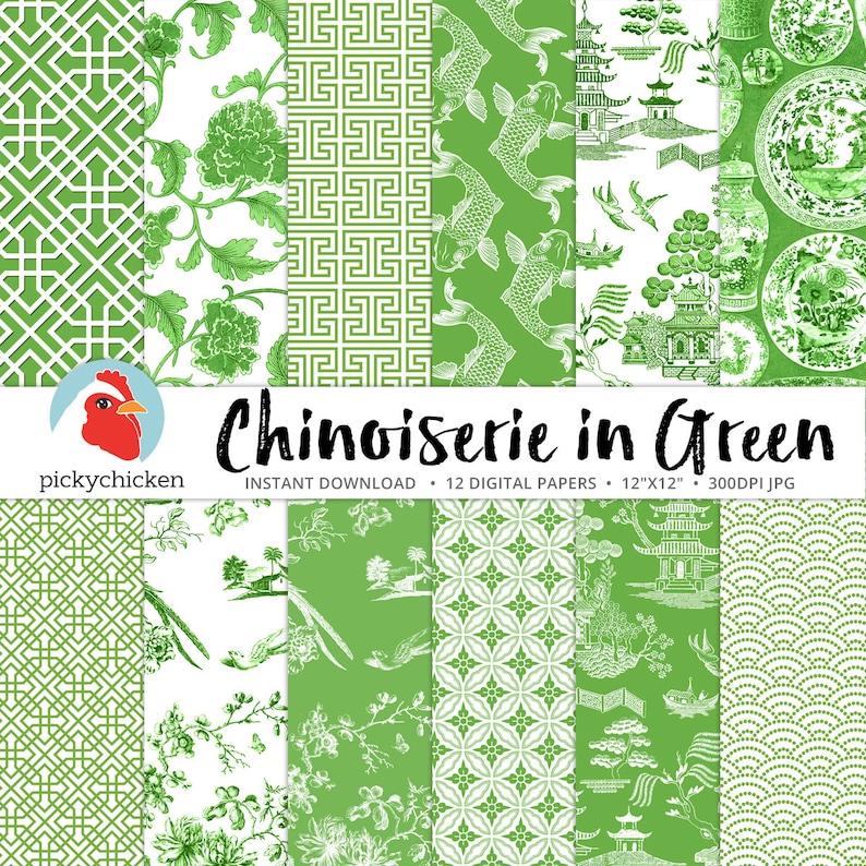 e2da6320e5ef0 Chinoiserie Digital Paper Chinese patterns green   white