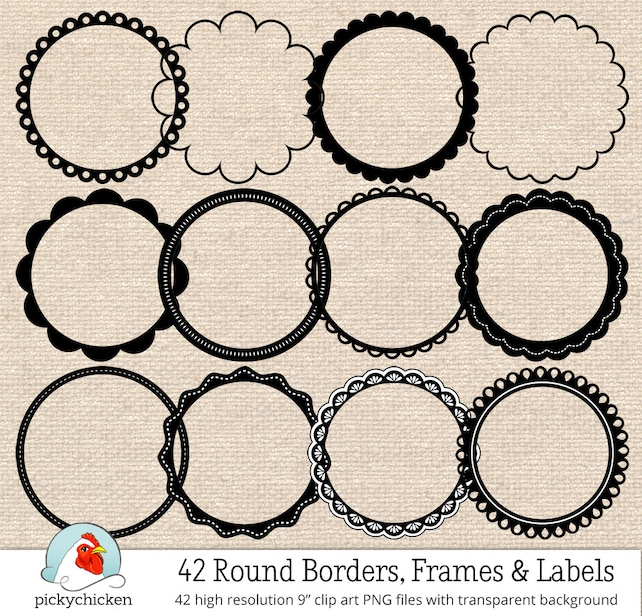 Circle frames clip art 42 black & white digital borders | Etsy
