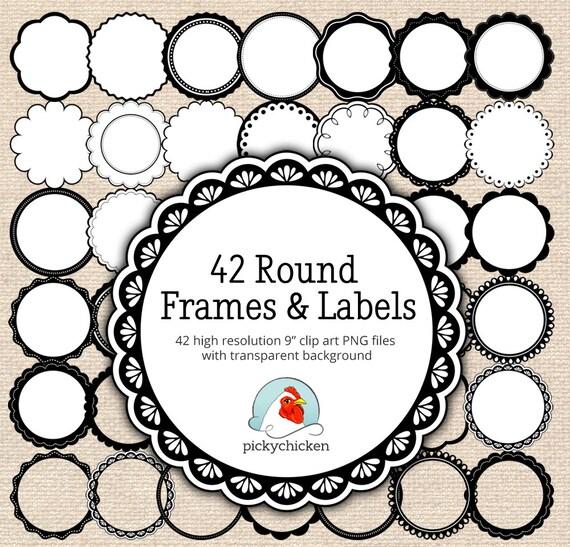 Circle frames clip art 42 black & white digital borders   Etsy