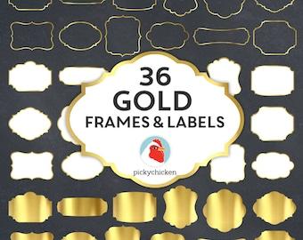 Gold Digital Frames - faux gold foil frames, gold digital labels, gold clip, gold borders, art tags borders clipart Instant Download 5037