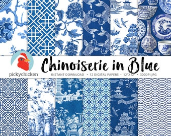 Chinoiserie Digital Paper, Chinese patterns, blue & white paper, blue china, oriental, french decoupage paper 8089