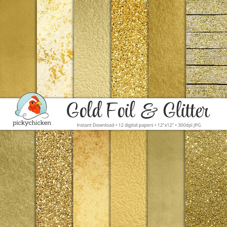 Gold Digital Paper  Gold Foil Paper & Gold Glitter Paper faux image 0