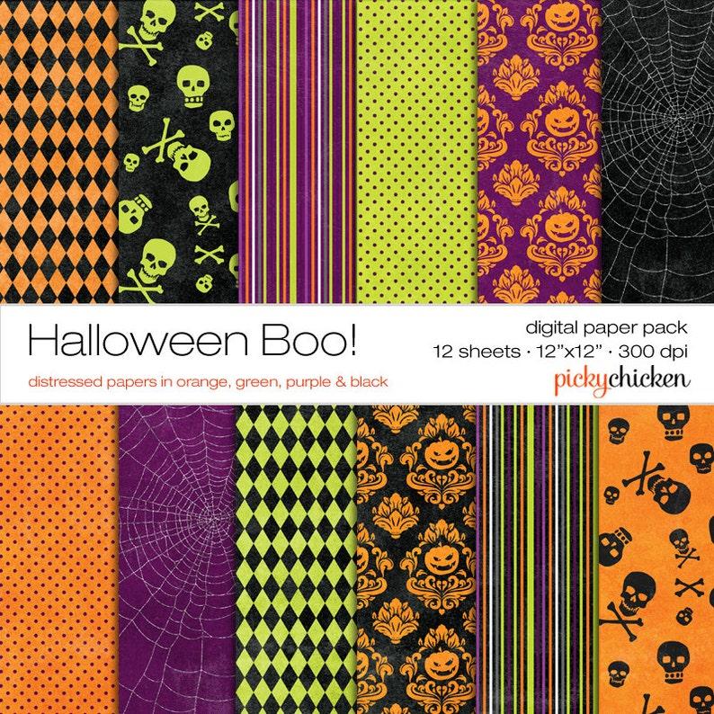 Halloween Digital Paper  orange pumpkins damask green image 0