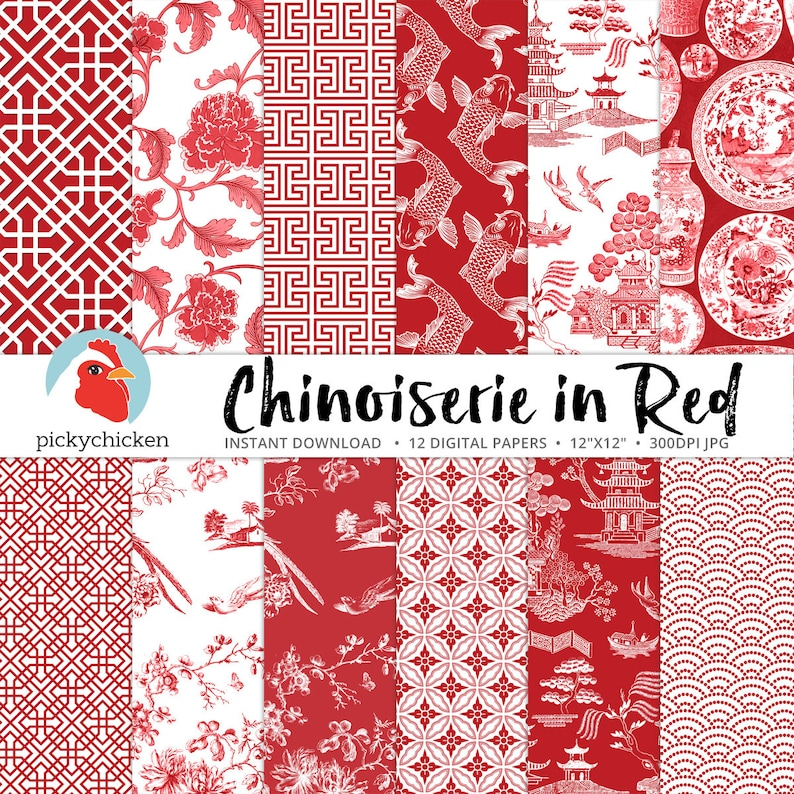 462bef623c9b7 Chinoiserie Digital Paper Chinese patterns red   white