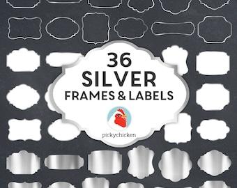 Silver Digital Frames - faux silver foil frames, silver digital labels, silver clip art, silver borders, art tags borders clipart 5043