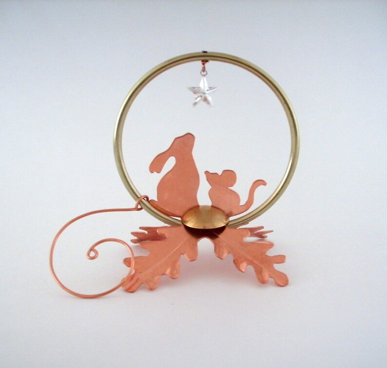 Forest Friends The Magic Star home decoration ornament house warming hostess gift animal lover metal bunny mouse copper oak leaf poem