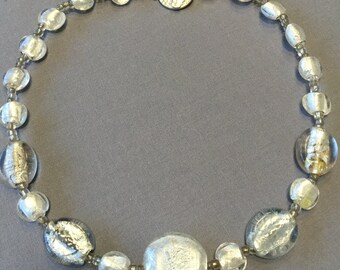 Free Shipping Clear, White and Silver Diachronic Glass Necklace.