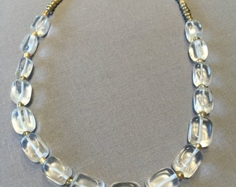 Free Shipping Clear Glass and Gold Seed beaded necklace.