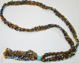 A-17 6 Strand Multi-color Beaded Necklace