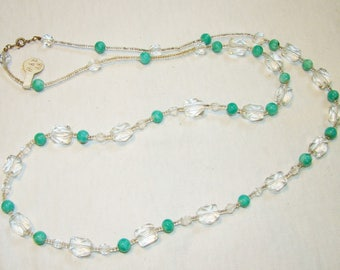 A-16 Beautiful clear irregular cut  facetted bead Necklace