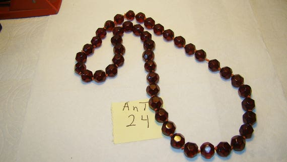Ant #24 Facetted Cherry Amber Necklace