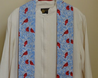 Clergy Winter Stole: Cardinals in the Snow