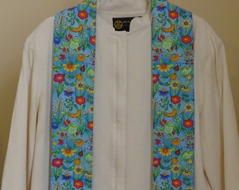 Clergy Stole for Creation:  Flowers and Frogs