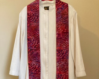 Clergy Stole for Pentecost and Celebrations:  Red Jungle Print