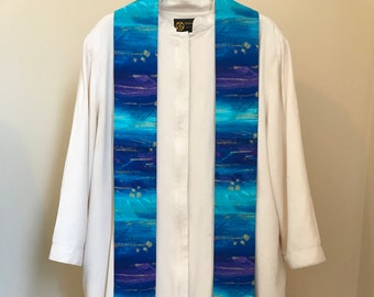Clergy Stole for Advent:  Blue, Turquoise, and Gold