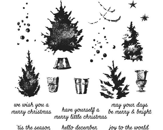 Tim Holtz WATERCOLOR TREES Holiday Christmas Cling-Mount Rubber Stamp Set by Stampers Anonymous CMS317