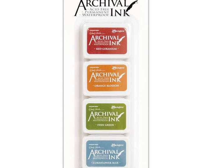 Wendy Vecchi Archival Mini Ink Pad Kit - Set # 4 (Red Geranium, Orange Blossom, Fern Green, and Cornflower Blue)