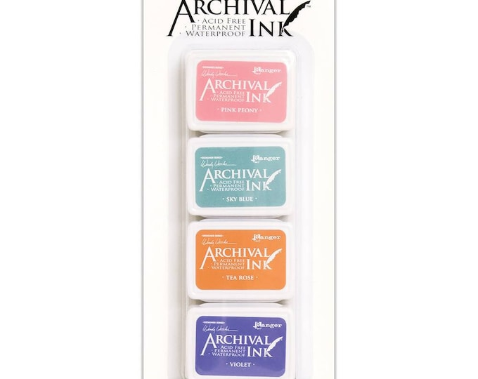 Wendy Vecchi Archival Mini Ink Pad Kit - Set # 3 (Pink Peony, Tea Rose, Sky Blue, and Violet)