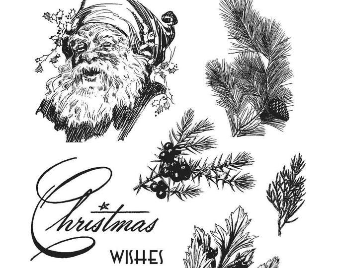 Tim Holtz CHRISTMAS CLASSIC Holiday Cling-Mount Rubber Stamp Set by Stampers Anonymous CMS322
