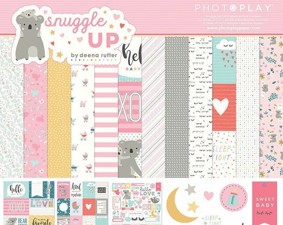 New! Photo Play SNUGGLE UP GIRL 12x12 Baby Theme Scrapbook Paper Collection Kit