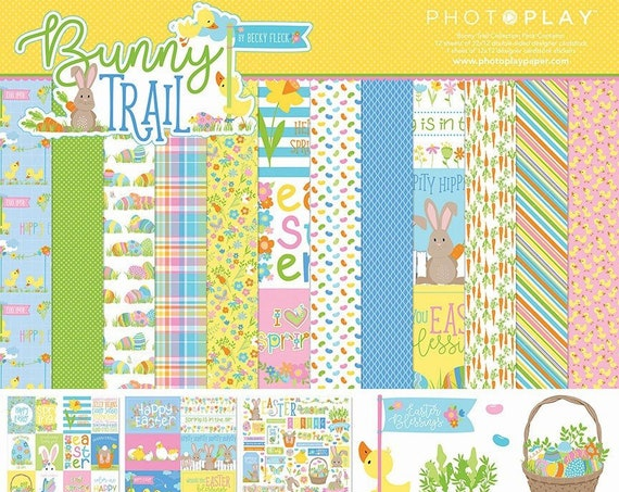 New! Photo Play BUNNY TRAIL 12x12 Easter Theme Scrapbook Paper Collection Kit - BTL9232