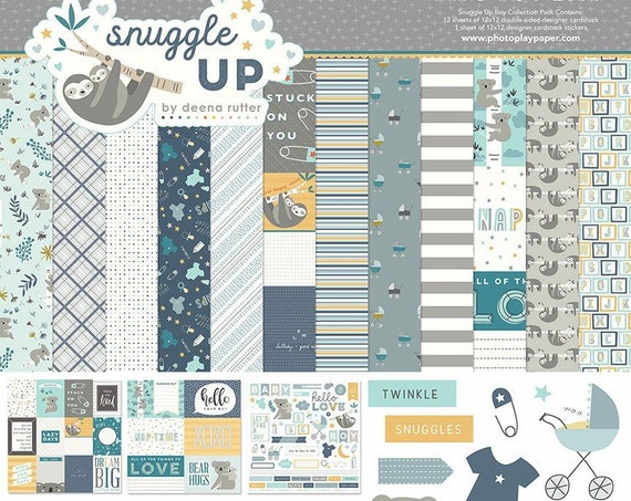 New! Photo Play SNUGGLE UP BOY 12x12 Baby Theme Scrapbook Paper Collection Kit
