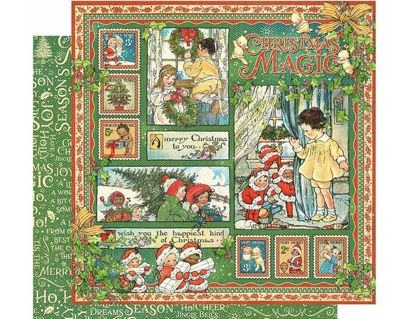2 Sheets of CHRISTMAS MAGIC Scrapbook Cardstock by Graphic 45 Paper - Christmas Magic (4501726)