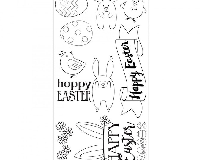 Sizzix Clear Stamps - Hoppy Easter - Easter Theme Stamps by Lynda Kanase 662000