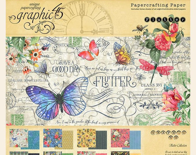 New! Graphic 45 FLUTTER 8x8 Double-Sided Scrapbook Paper Pad
