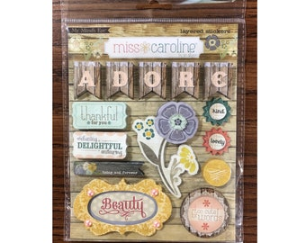 "My Mind's Eye MISS CAROLINE Fiddlesticks ""Home"" Layered Cardstock Stickers (MC0149)"