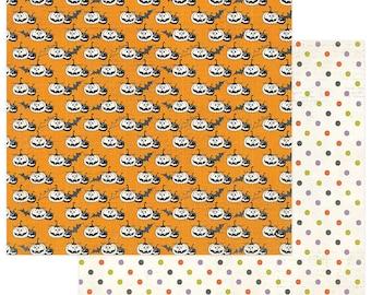 2 Sheets of Photo Play BOOTIFUL 12x12 Halloween Scrapbook Paper - Pumpkins