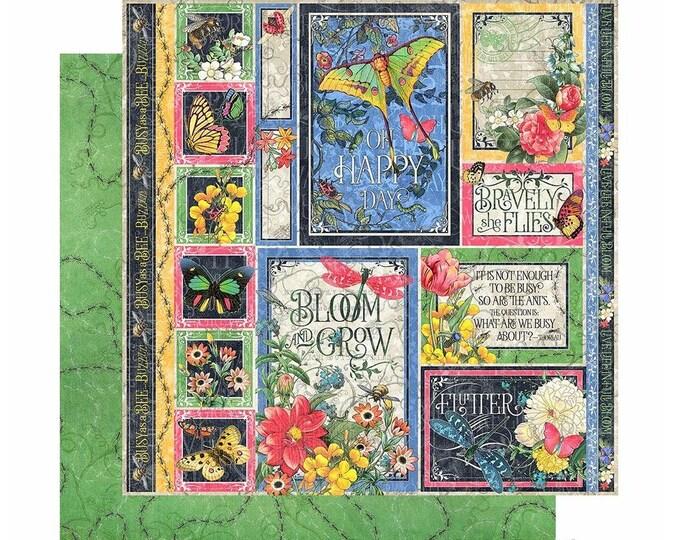 New! 2 Sheets of Graphic 45 FLUTTER Scrapbook Cardstock Paper - Exquisite (4501772)
