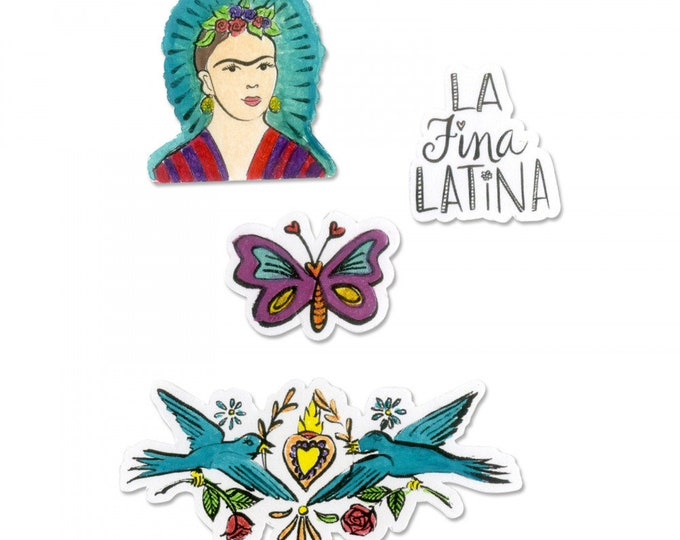 New! Sizzix Framelits Die Set 4PK w/Stamps - La Fina Latina (The Fine Latina) by Crafty Chica 663141