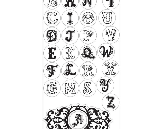 New! Sizzix Interchangeable Clear Stamps - Monogram Alphabet by Jen Long