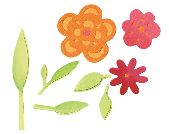 Sizzix Sizzlits Die Set 3PK - Flowers & Leaves Set 657385