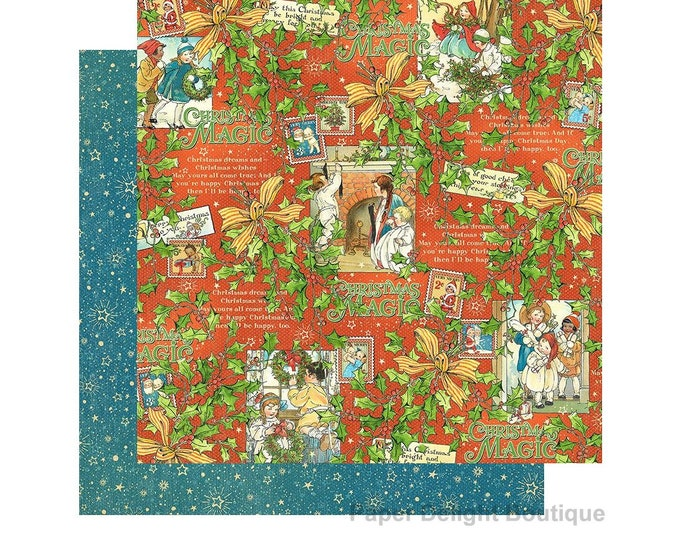 2 Sheets of CHRISTMAS MAGIC Scrapbook Cardstock by Graphic 45 Paper - Merry Memories (4501732)