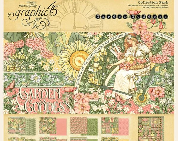New! Graphic 45 GARDEN GODDESS 12x12 Double-Sided Scrapbook Paper Collection Pack