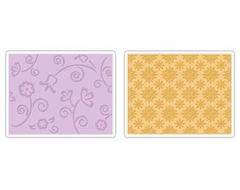 Sizzix Textured Impressions Embossing Folders 2PK - Flower & Wreath Set 657380
